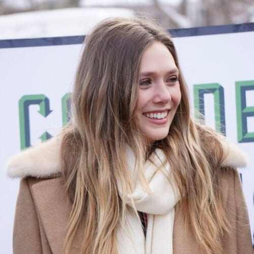 Elizabeth Olsen brown hair with blonde highlights