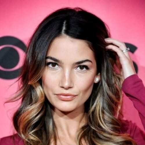 Lily Aldridge brown hair with blonde highlights