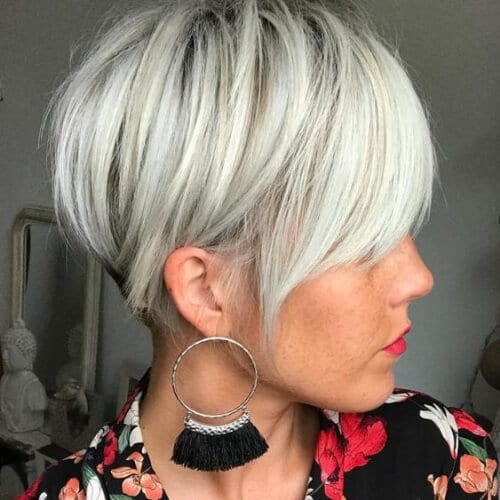 Short Silver Blonde Undercut short haircuts for women