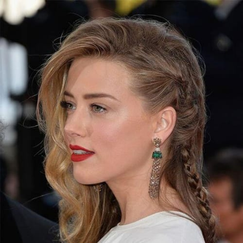 amber heard braid hairstyles for long hair