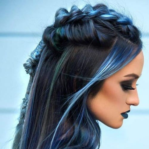 blue highlights braid hairstyles for long hair