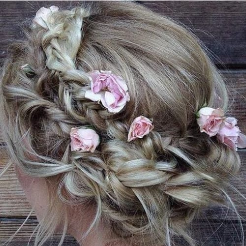 boho roses braid hairstyles for long hair