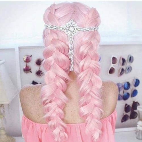 candy floss pink braid hairstyles for long hair
