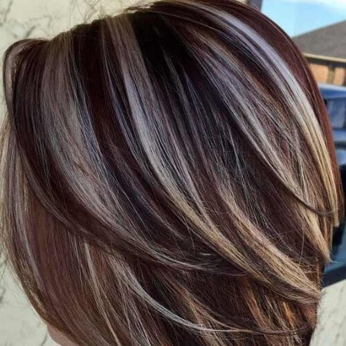 coffee and cream brown hair with blonde highlights