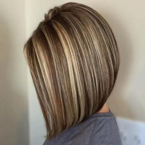 concave bob brown hair with blonde highlights