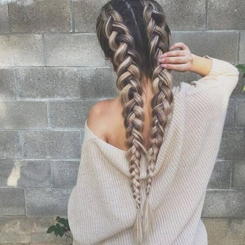 double three strand braid hairstyles for long hair