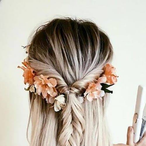 flower crown braid hairstyles for long hair