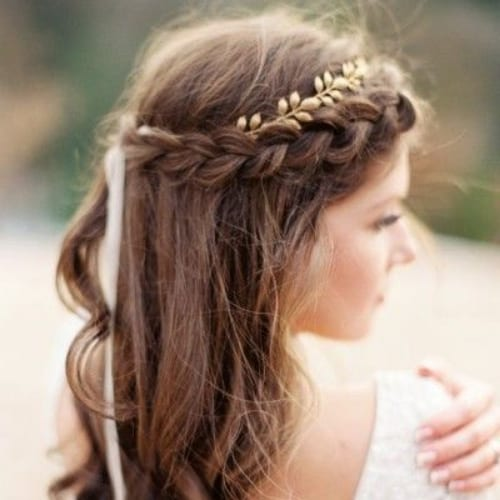 gold leaf braid hairstyles for long hair