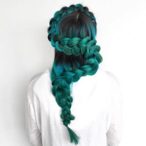 green snake braid hairstyles for long hair