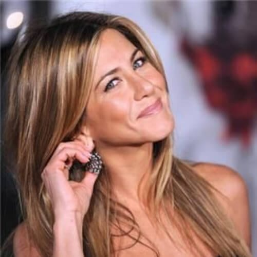jennifer aniston brown hair with blonde highlights