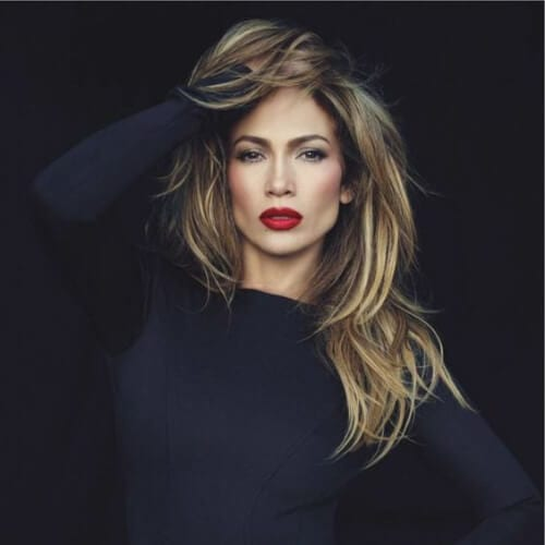 jennifer lopez brown hair with blonde highlights