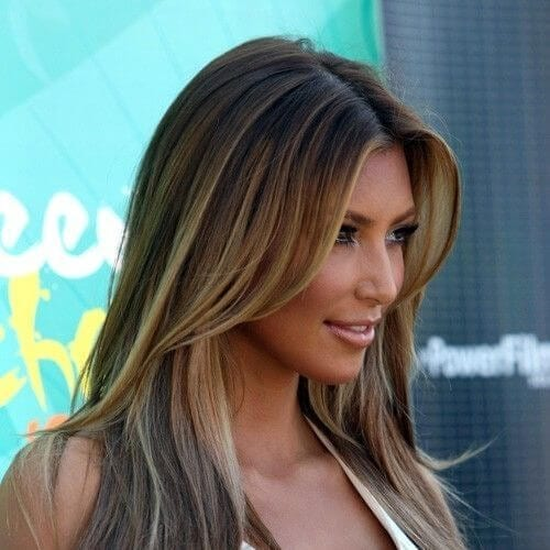 kim k brown hair with blonde highlights