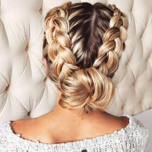 low chignon braid hairstyles for long hair
