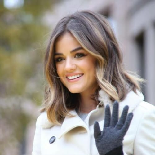 lucy hale brown hair with blonde highlights