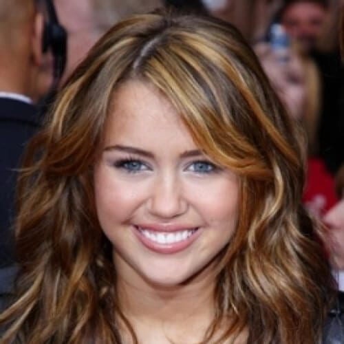 miley cyrus brown hair with blonde highlights