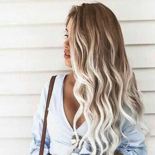platinum brown hair with blonde highlights