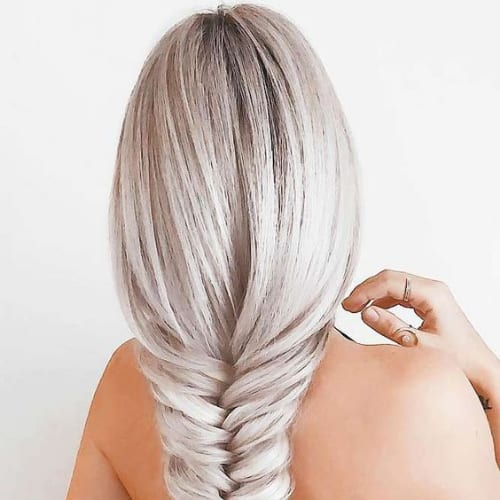 platinum loose fishtail braid hairstyles for long hair