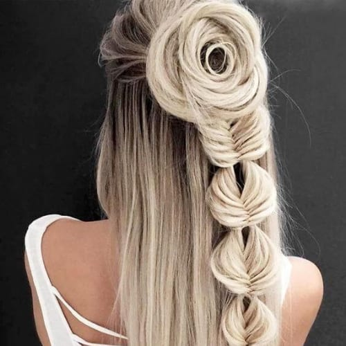 rose braid hairstyles for long hair