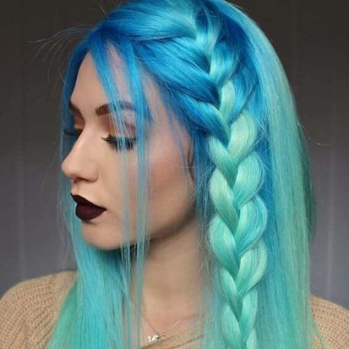 sea colors braid hairstyles for long hair