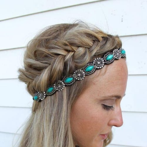 teal head band braid hairstyles for long hair