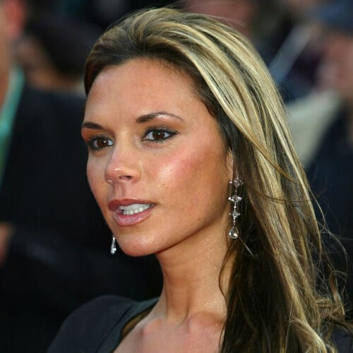 victoria beckham brown hair with blonde highlights
