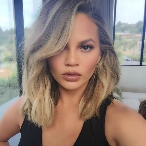 chrissy teigen haircuts for thick hair