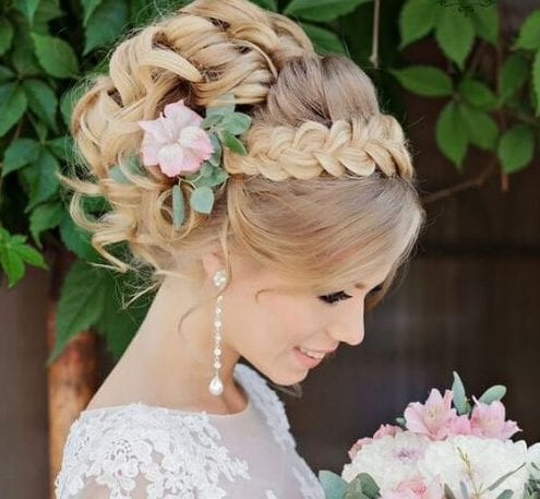 crown braid wedding updos