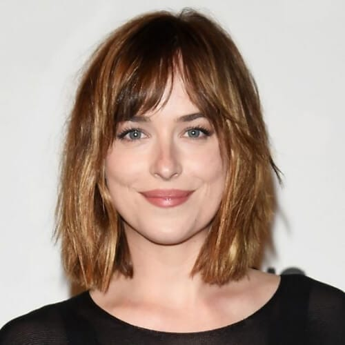dakota johnson haircuts for thick hair