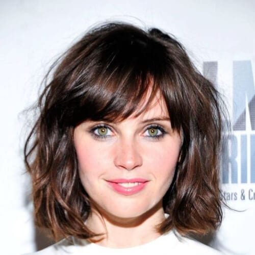 felicity jones haircuts for thick hair