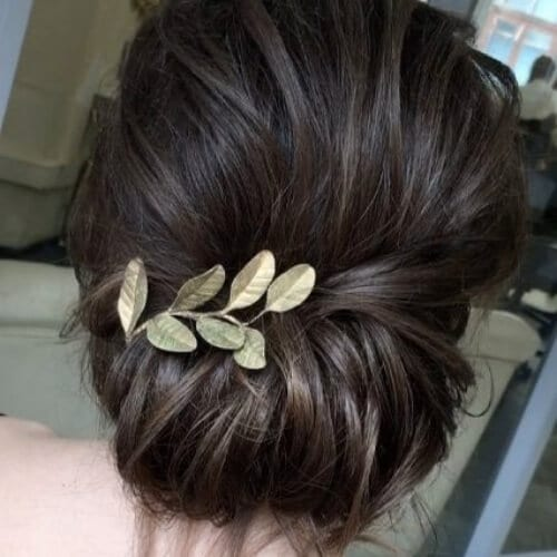 golden leaves wedding updos