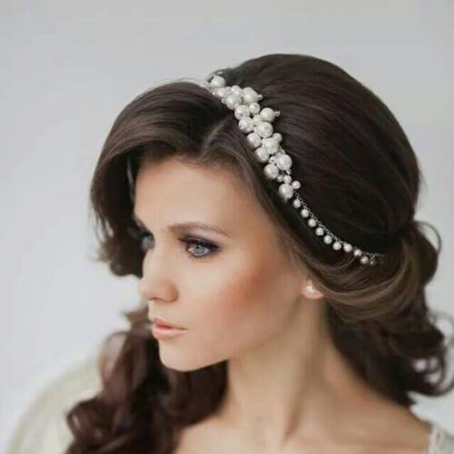 pearl tiara wedding updos