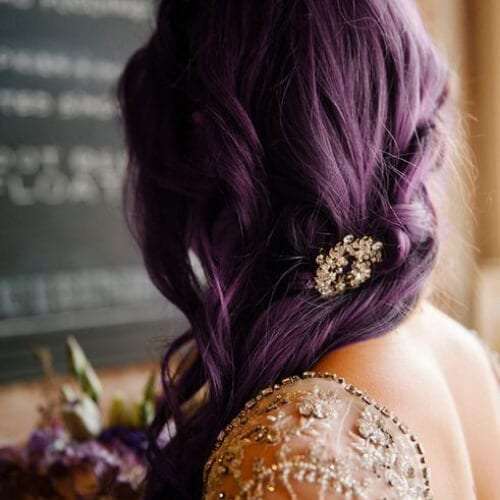 purple wedding updos