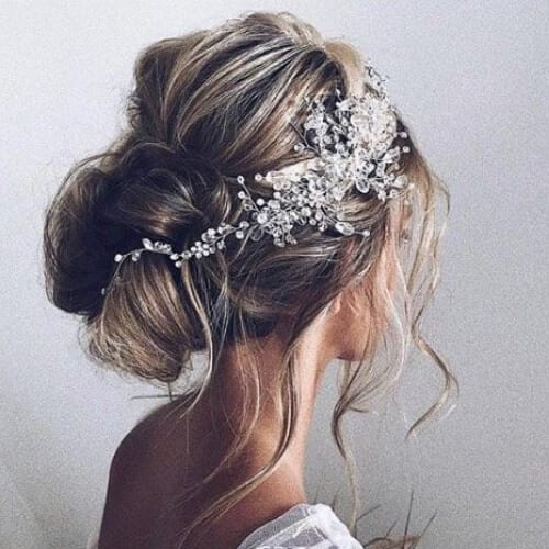 relaxed bun wedding updos