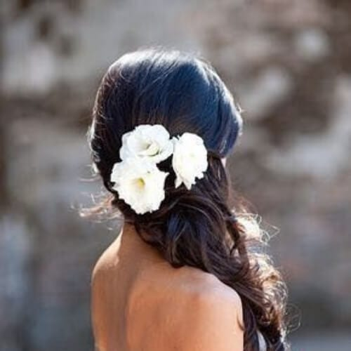 side braid flowers wedding updos