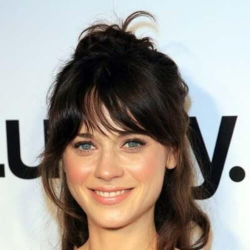 zooey deschanel haircuts for thick hair