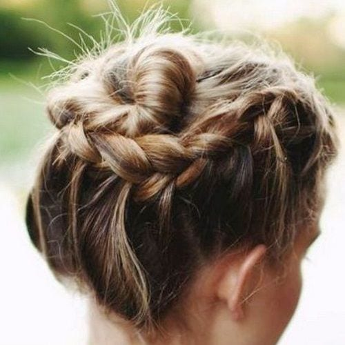 braided bun prom hairstyles for short hair
