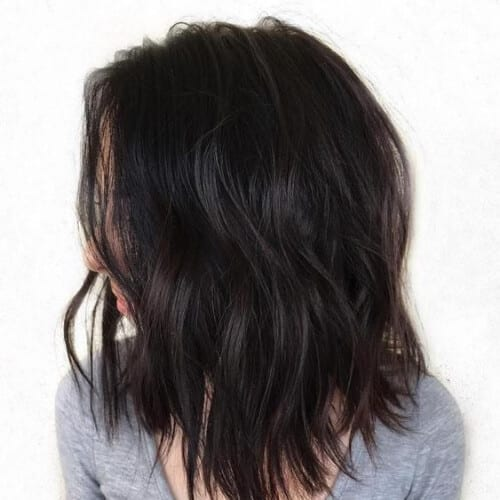 Brunette Wavy Lob with Jagged Ends medium length haircuts for thick hair