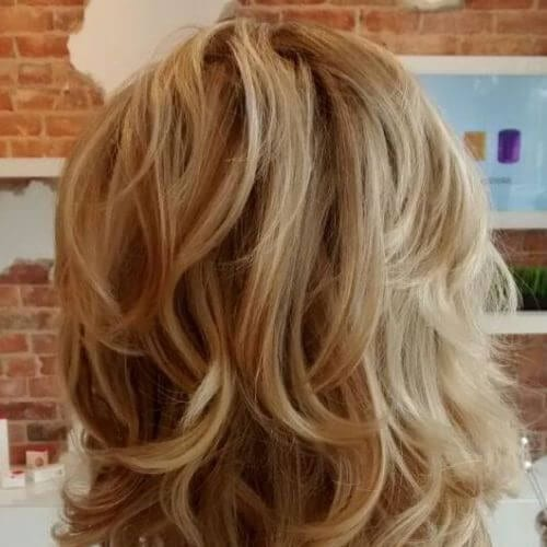 Caramel Blonde Layered Bob medium length haircuts for thick hair
