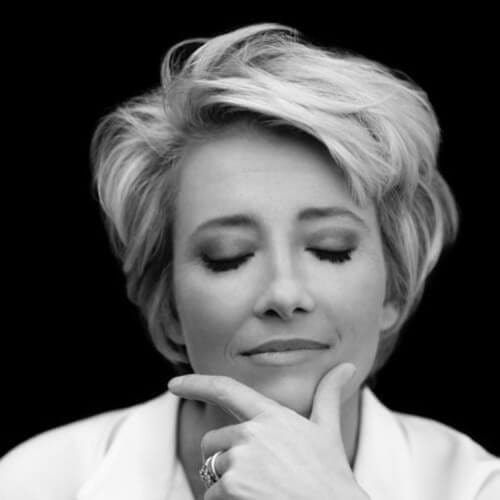 Emma Thompson mother of the bride updos