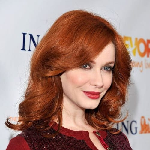 christina hendricks medium length haircuts for thick hair