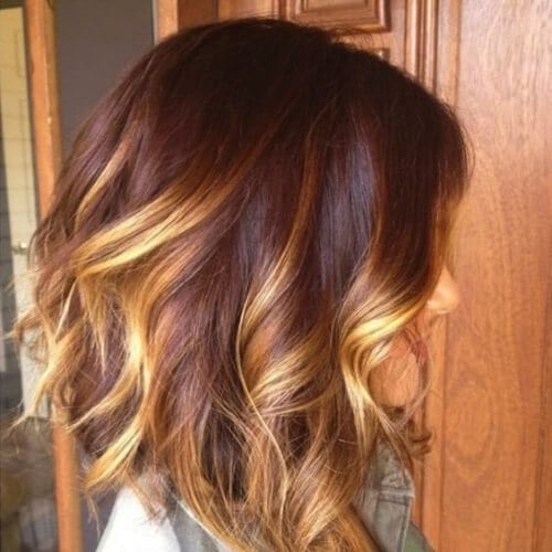 gold highlights medium length haircuts for thick hair