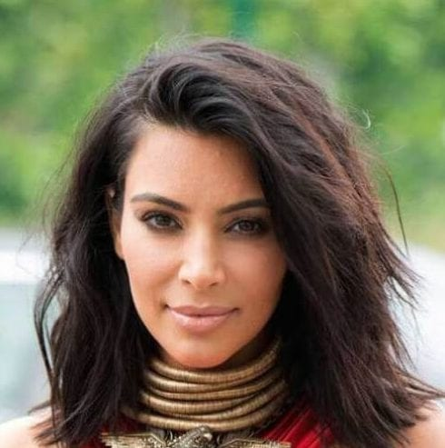 kim k medium length haircuts for thick hair