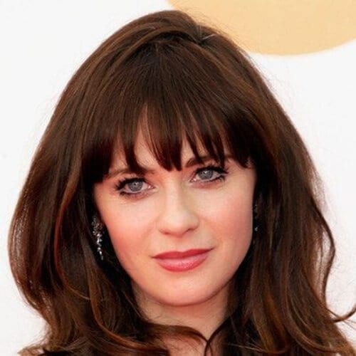 zooey deschanel medium length haircuts for thick hair