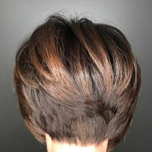 Brown Stacked Pixie Bob stacked bob haircut