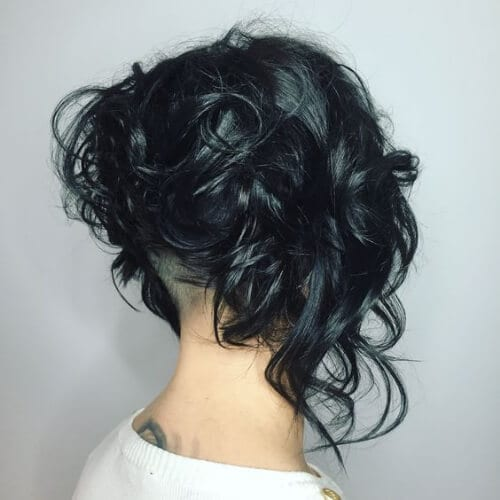 Curly Bob with undercut stacked bob haircut