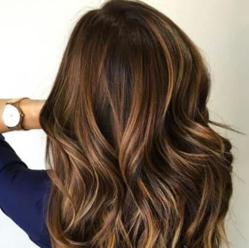 50 Intense Dark Hair with Caramel Highlights Ideas