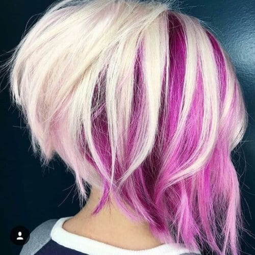 Ice & Fuschia stacked bob haircut