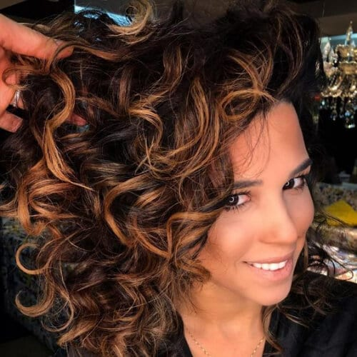 Long Loose Espresso and Toffee Curls dark hair with caramel highlights