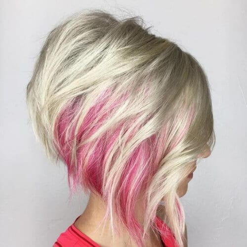 Platinum Bob With Pink Peekaboo Highlights stacked bob haircut