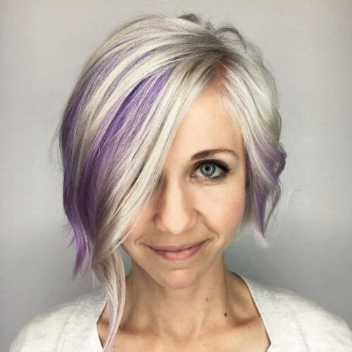 Platinum Bob With Purple Highlights stacked bob haircuts